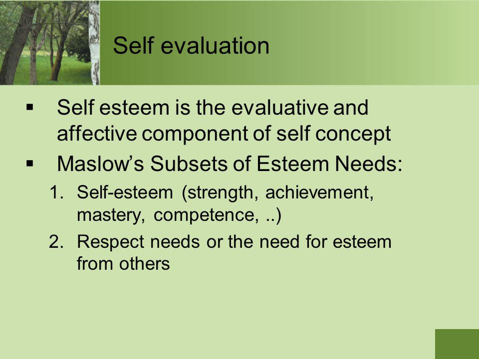 Self evaluation Self esteem is the evaluative and affective component of self concept. Maslow's Subsets of Esteem Needs: