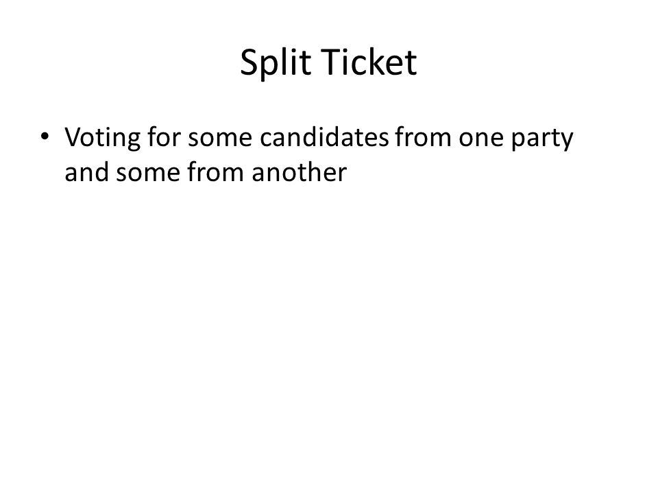 Split Ticket Voting for some candidates from one party and some from another