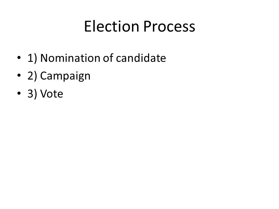 Election Process 1) Nomination of candidate 2) Campaign 3) Vote