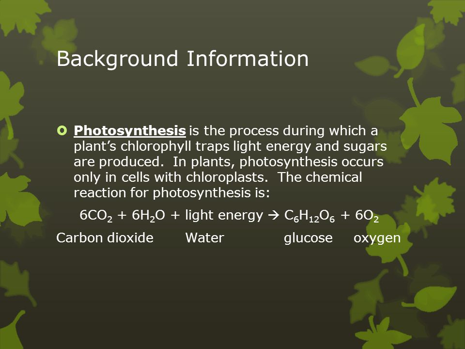 evidence of photosynthesis Problem: to observe evidence of photosynthesis in a water plant materials: 3 test tubes with caps light source bromothymol blue solution beaker foil straw procedure: 1.