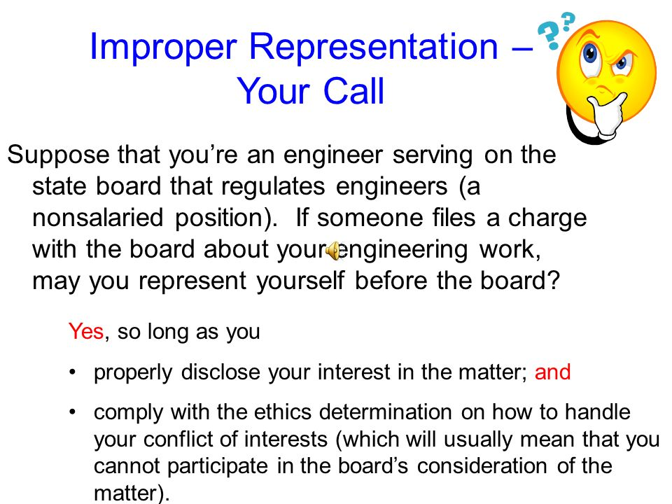 Improper Representation – Your Call
