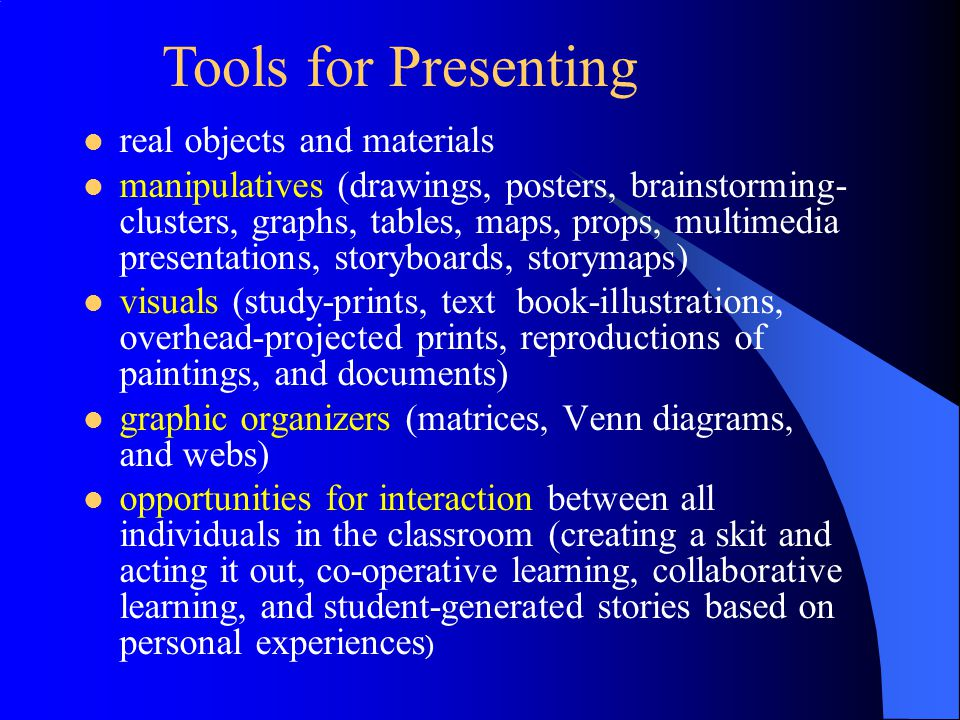 Tools for Presenting real objects and materials