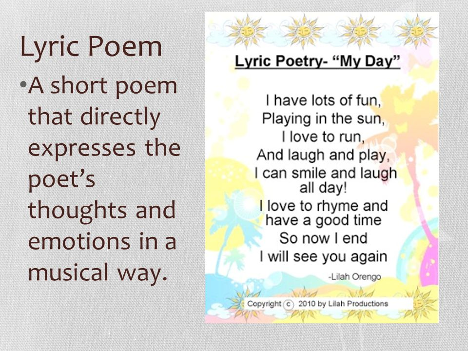 the definition of lyric poetry as a poetry category Most poems, especially modern ones, are lyric poems 2 narrative poem: it is a poem that tells a story  its structure resembles the plot line of a story [ie the introduction of conflict and characters, rising action, climax and the denouement.