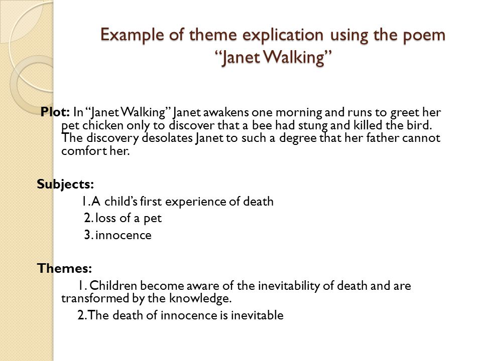 Example of theme explication using the poem Janet Walking