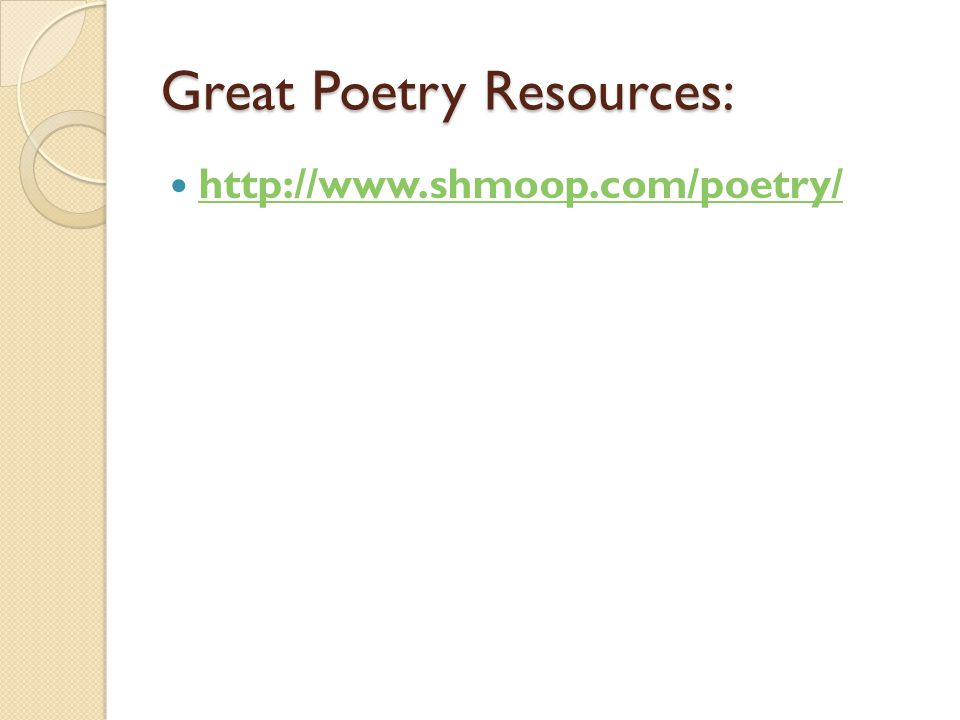 Great Poetry Resources: