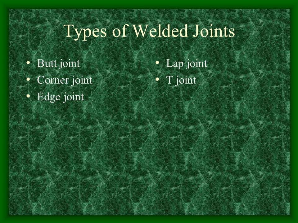 Types of Welded Joints Butt joint Corner joint Edge joint Lap joint