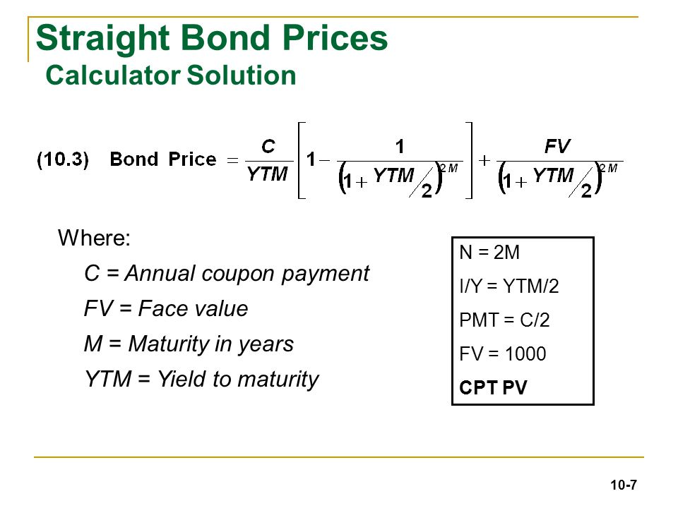 Yield to maturity discount bond formula