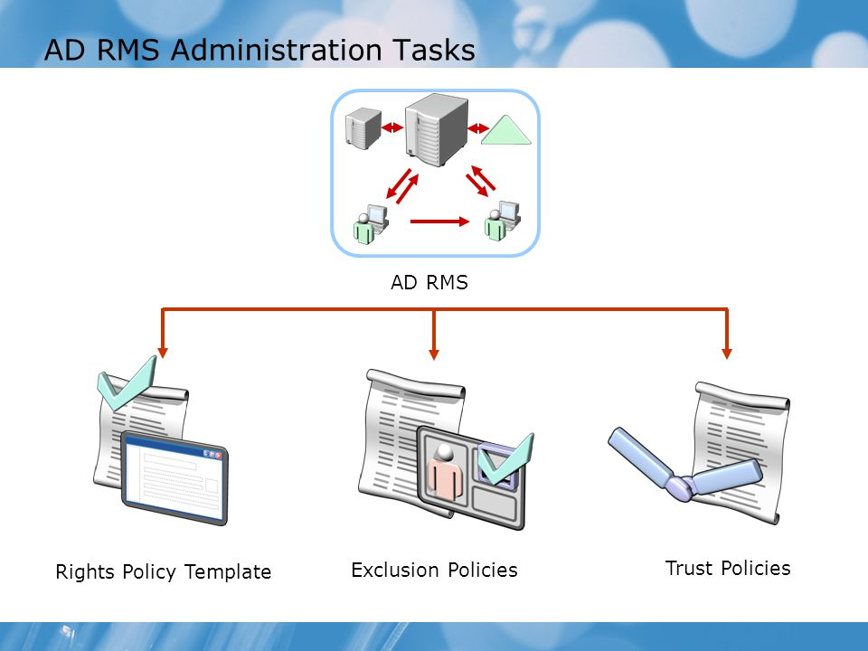 manage rights policy templates configure exclusion policies configure trust policies ad rms administration tasks
