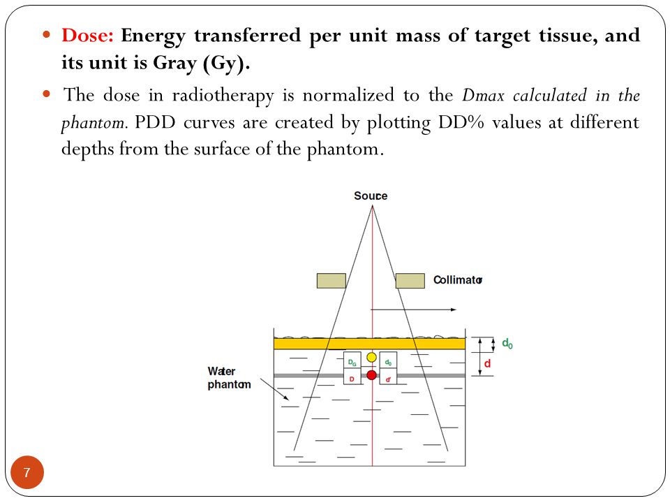 Dose: Energy transferred per unit mass of target tissue, and its unit is Gray (Gy).