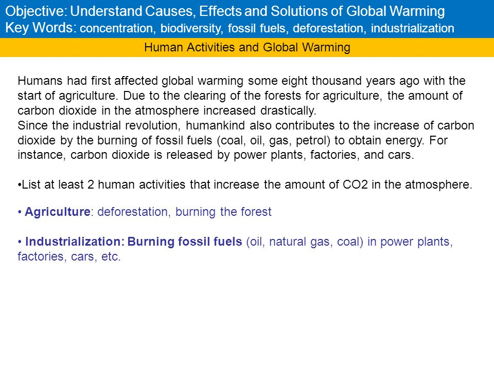 Human Activities and Global Warming