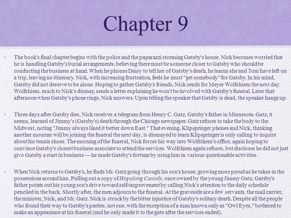 essay on the great gatsby chapter 1 Chapter one of the great gatsby introduces the narrator, nick carraway, and establishes the context and setting of the novel nick begins by explaining his own situation he has moved from the midwest to west egg, a town on long island, ny the novel is set in the years following wwi, and begins in.