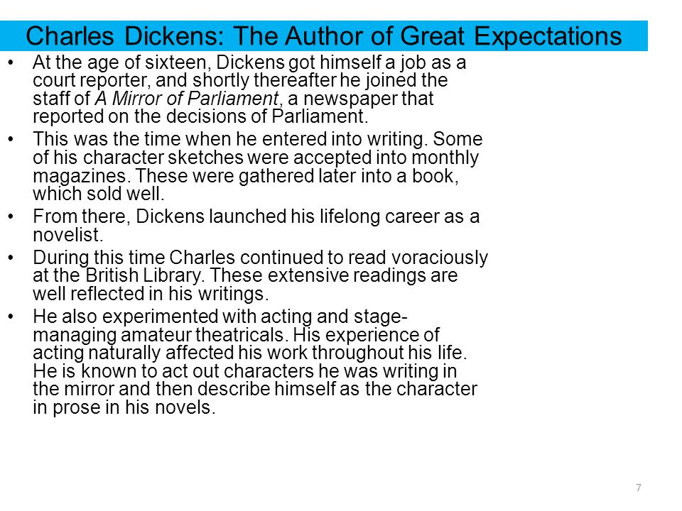 Great Expectations Introduction To The Author Charles Dickens And