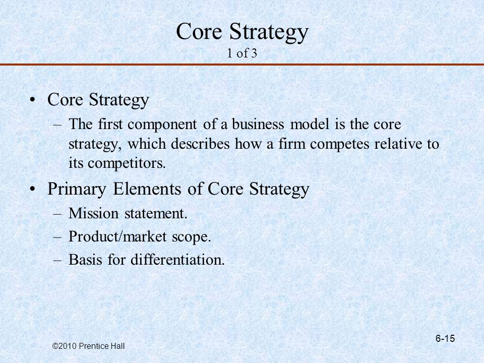 Core Strategy 1 of 3 Core Strategy Primary Elements of Core Strategy