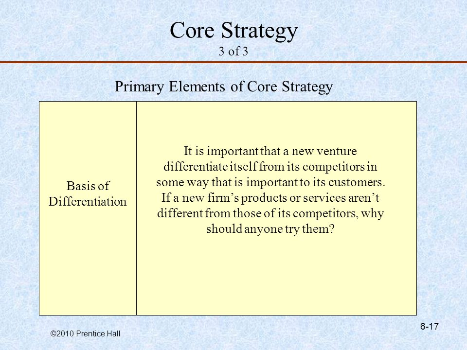 Core Strategy 3 of 3 Primary Elements of Core Strategy