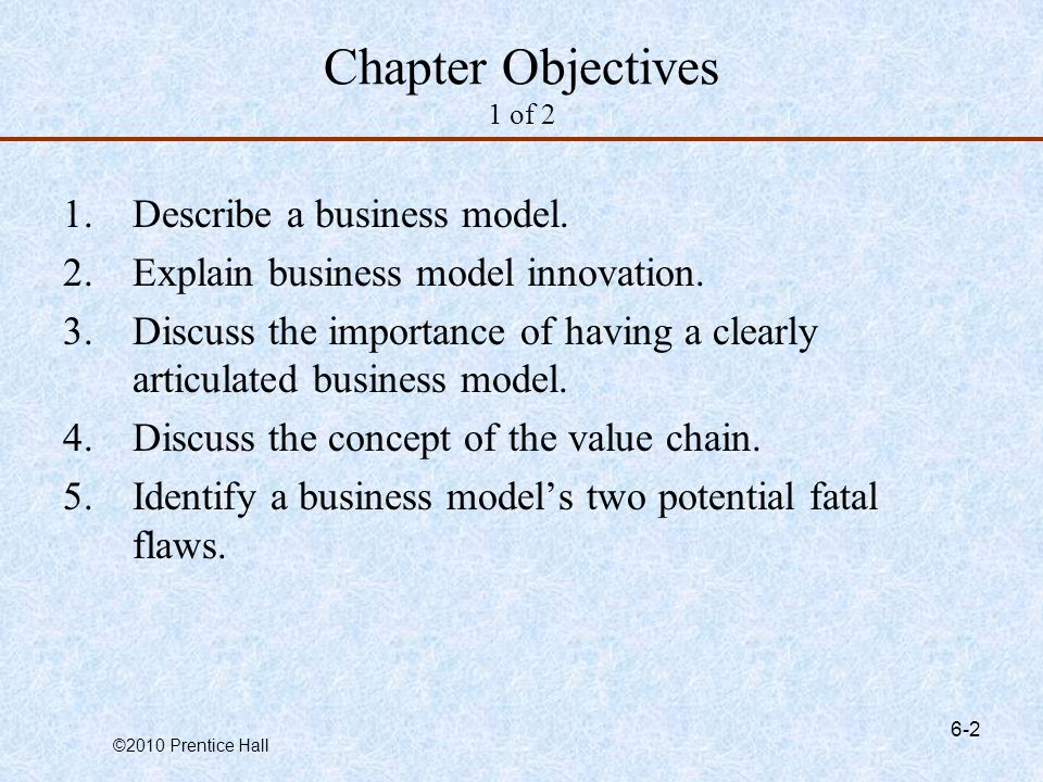 Chapter Objectives 1 of 2 Describe a business model.