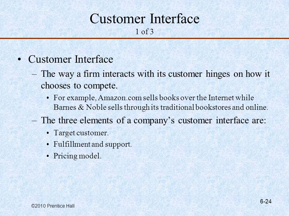 Customer Interface 1 of 3 Customer Interface