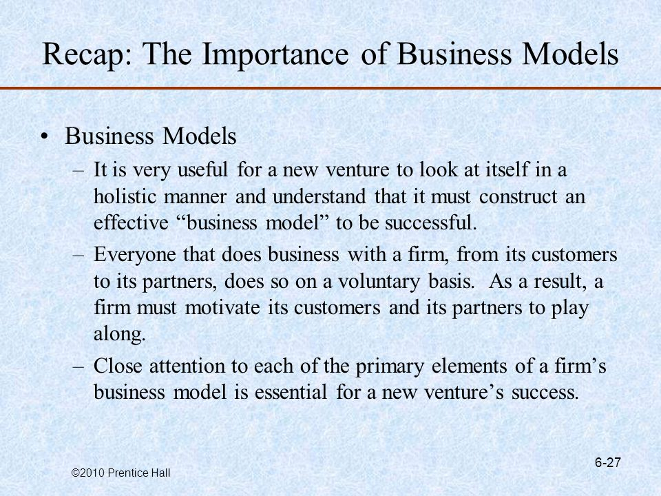 Recap: The Importance of Business Models