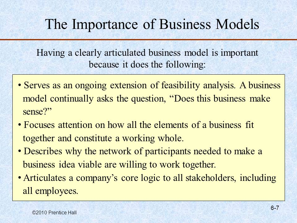 The Importance of Business Models