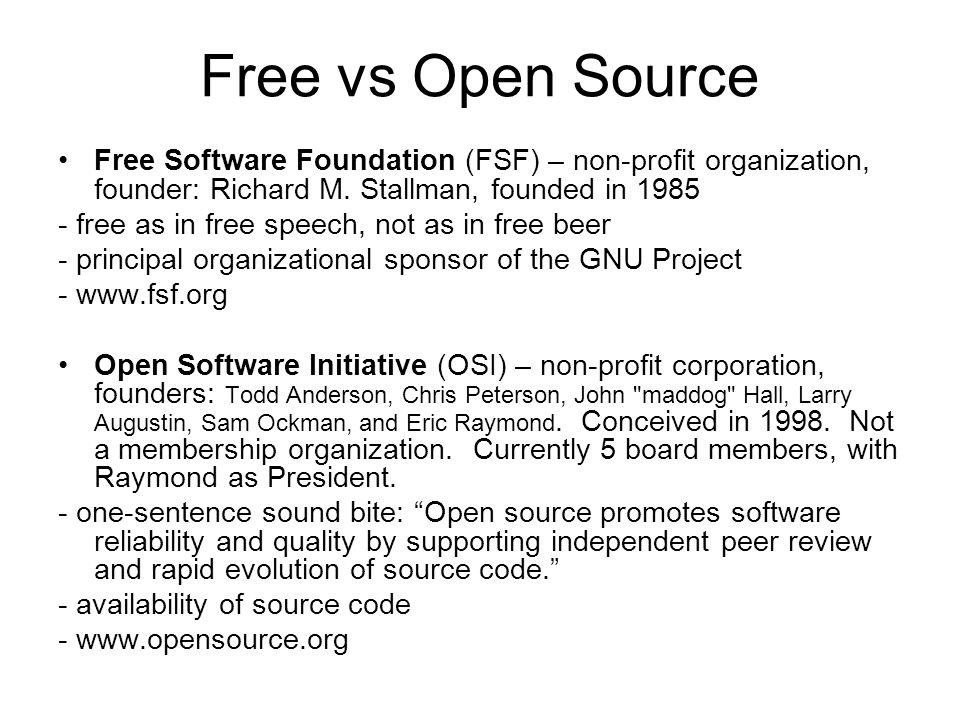 free software vs open source software