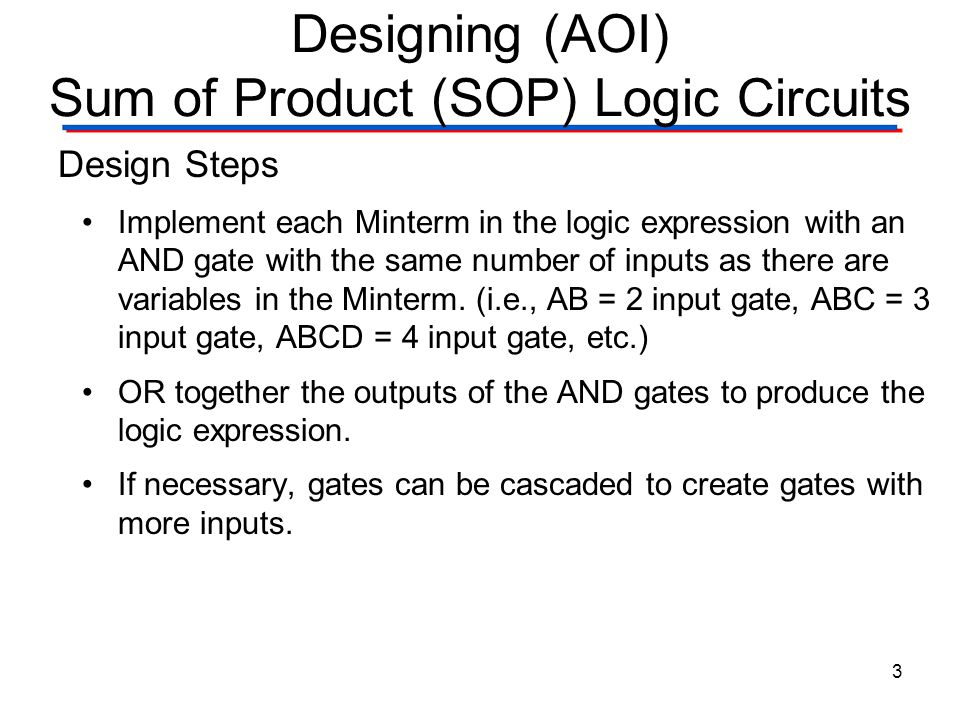 Designing (AOI) Sum of Product (SOP) Logic Circuits