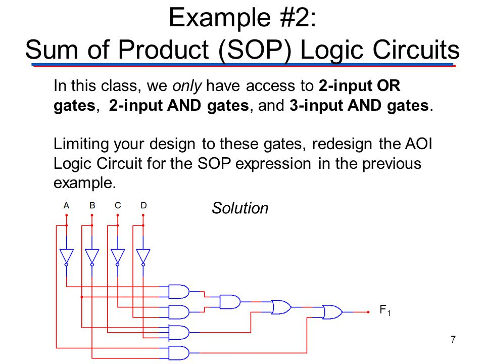 Example #2: Sum of Product (SOP) Logic Circuits