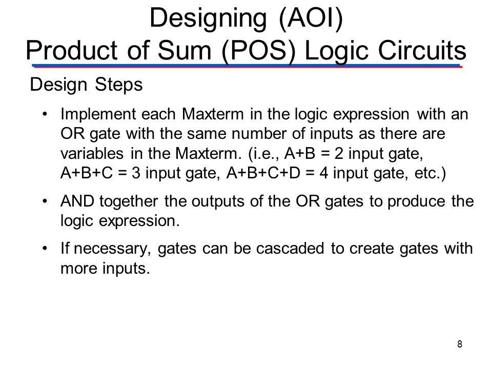 Designing (AOI) Product of Sum (POS) Logic Circuits