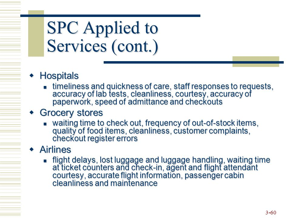 SPC Applied to Services (cont.)
