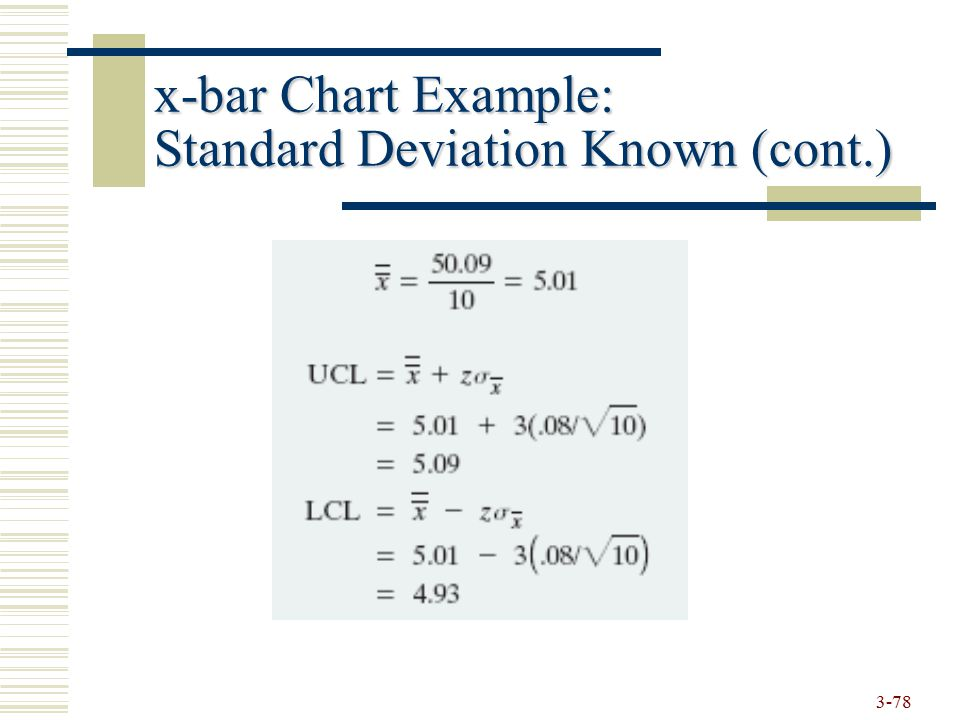 x-bar Chart Example: Standard Deviation Known (cont.)