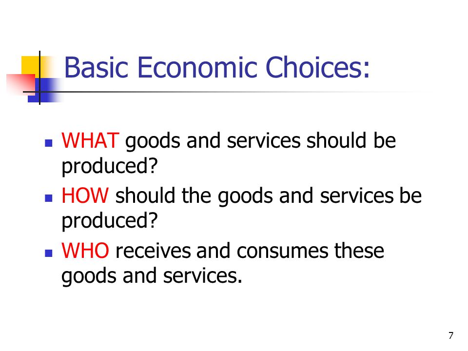 Basic Economic Choices:
