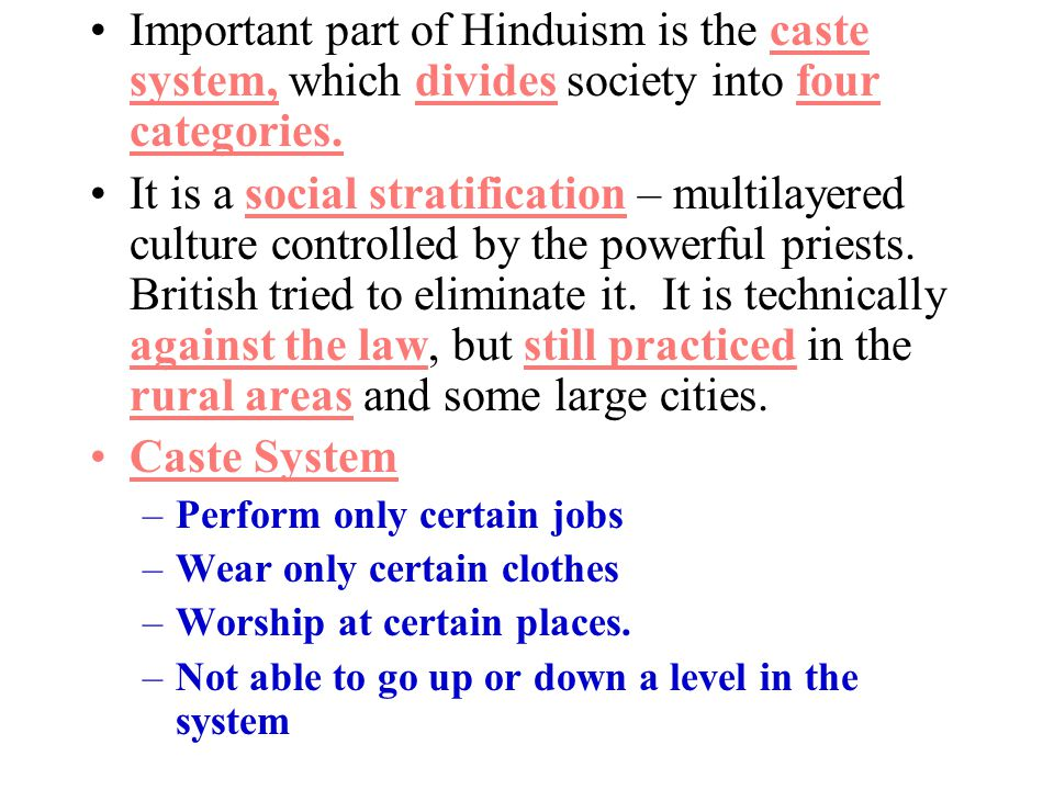 Important part of Hinduism is the caste system, which divides society into four categories.