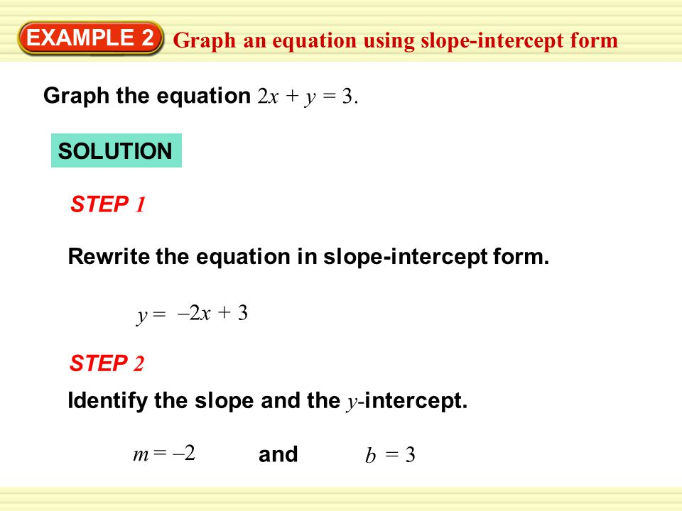 slope intercept form y=3  EXAMPLE 8 Graph an equation using slope-intercept form - ppt ...
