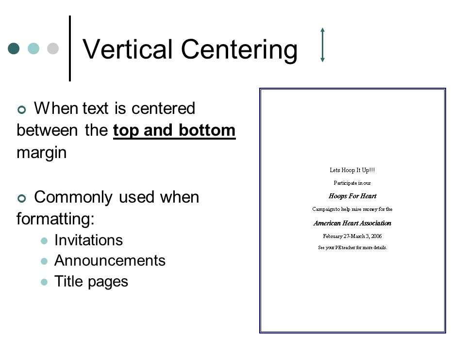 Vertical Centering When text is centered between the top and bottom