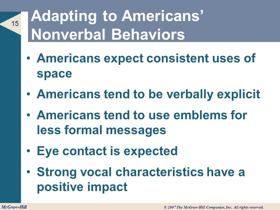 Adapting to Americans' Nonverbal Behaviors