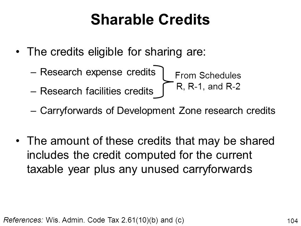 Sharable Credits The credits eligible for sharing are: