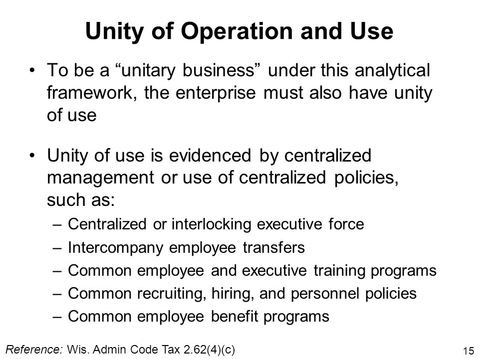 Unity of Operation and Use