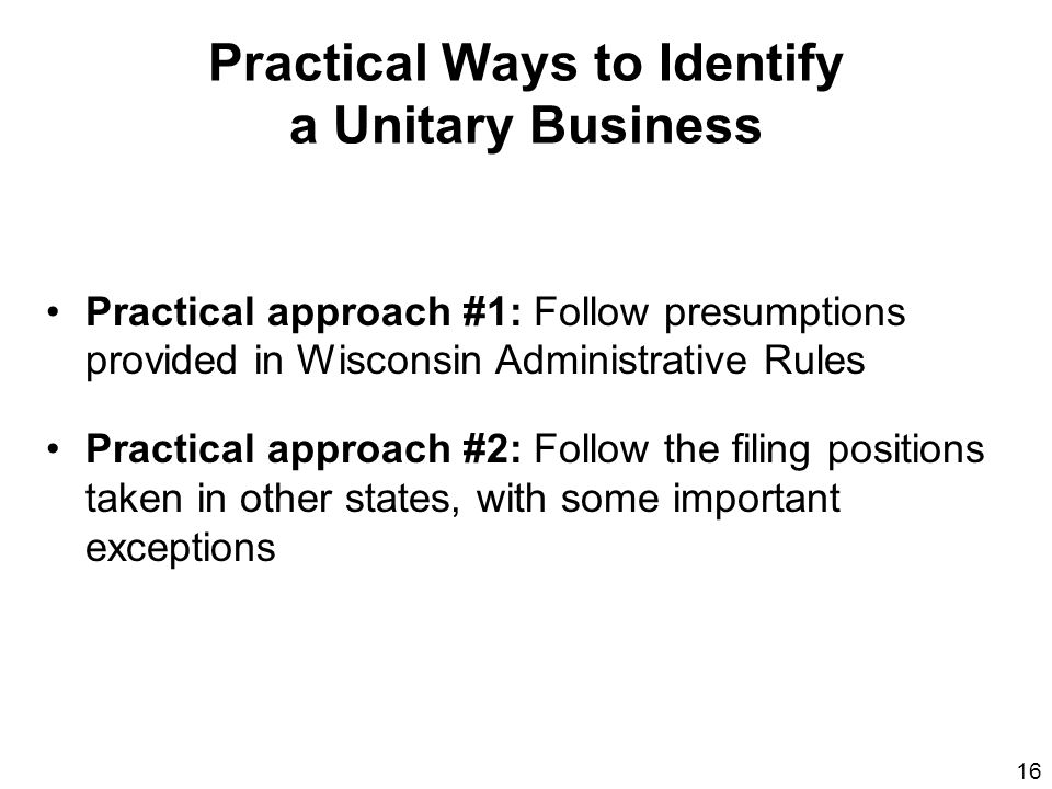 Practical Ways to Identify a Unitary Business