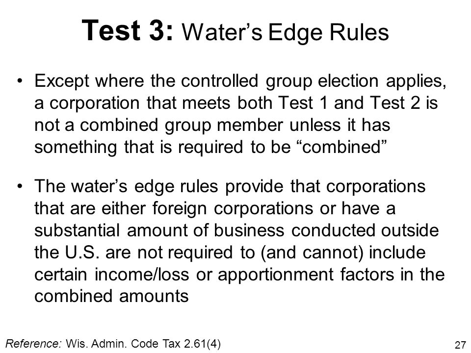 Test 3: Water's Edge Rules