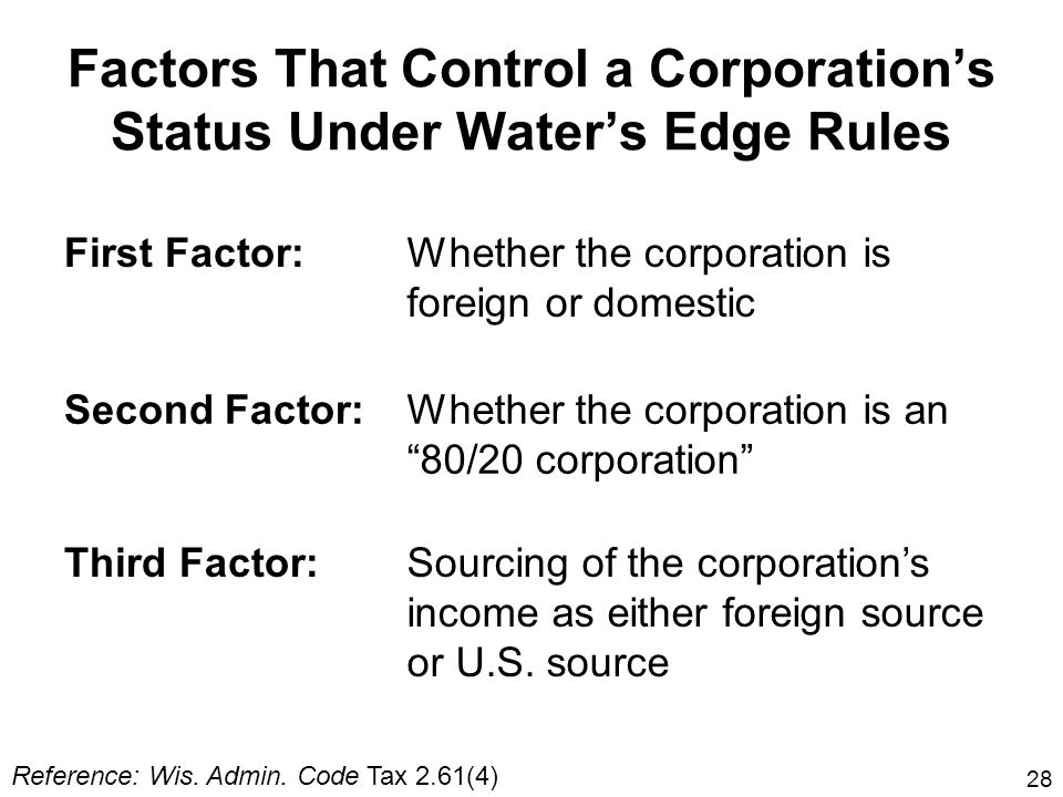 Factors That Control a Corporation's Status Under Water's Edge Rules