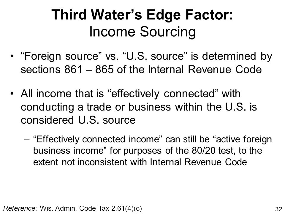 Third Water's Edge Factor: Income Sourcing