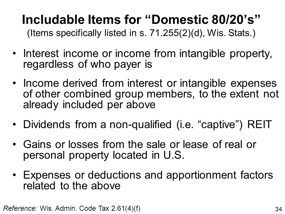 Includable Items for Domestic 80/20's (Items specifically listed in s (2)(d), Wis. Stats.)