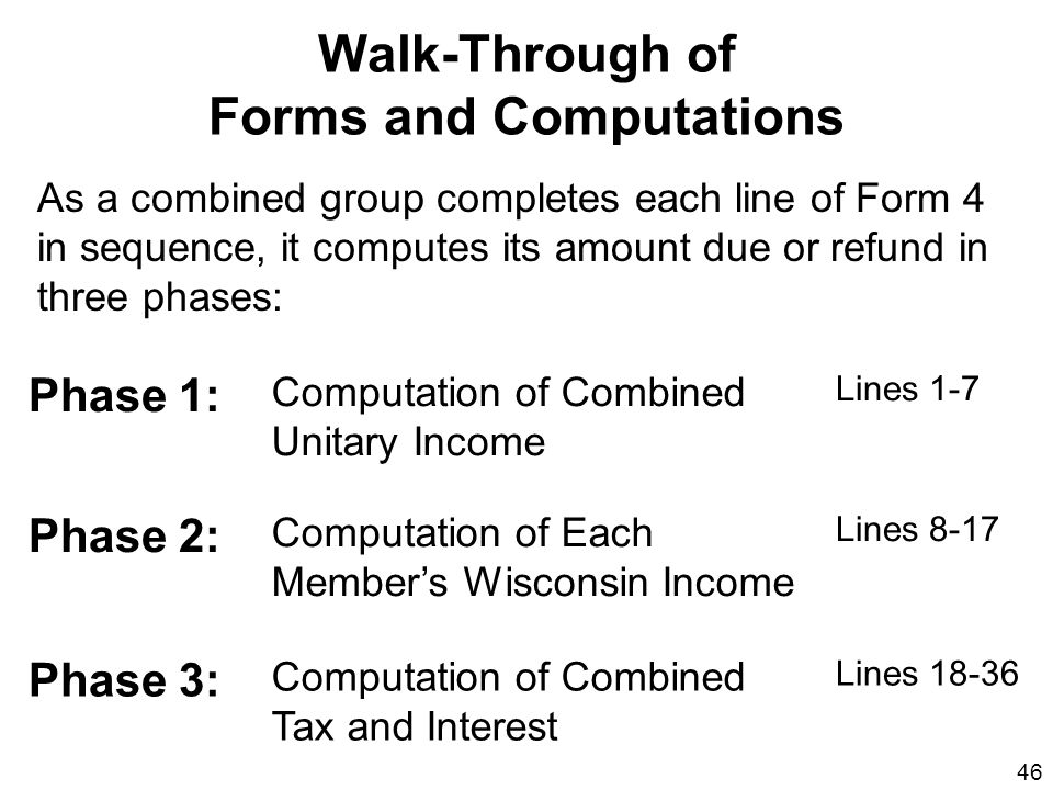Walk-Through of Forms and Computations