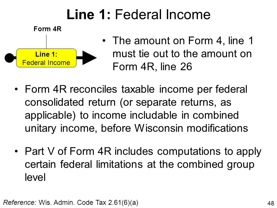 Line 1: Federal Income Form 4R. The amount on Form 4, line 1 must tie out to the amount on Form 4R, line 26.