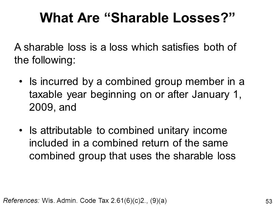 What Are Sharable Losses
