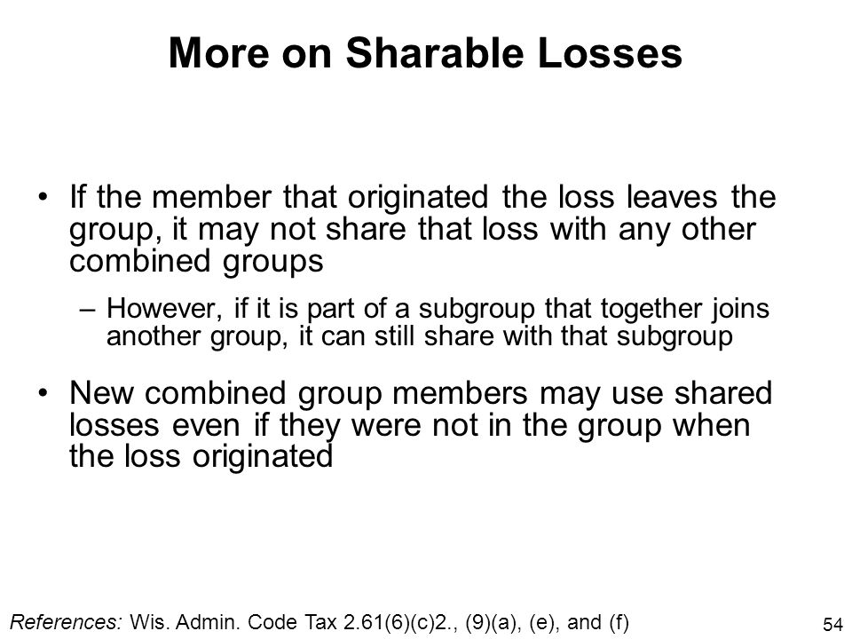 More on Sharable Losses