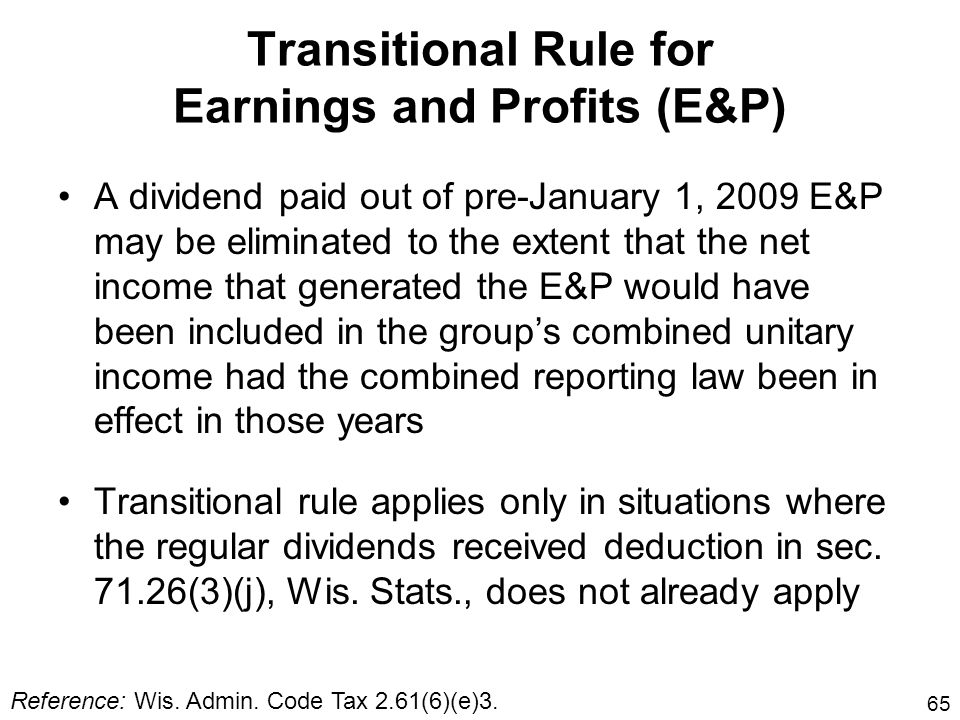 Transitional Rule for Earnings and Profits (E&P)