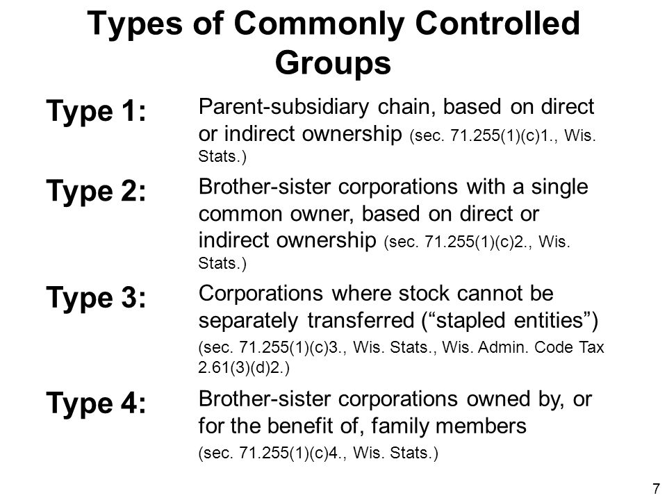 Types of Commonly Controlled Groups