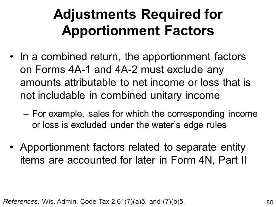 Adjustments Required for Apportionment Factors