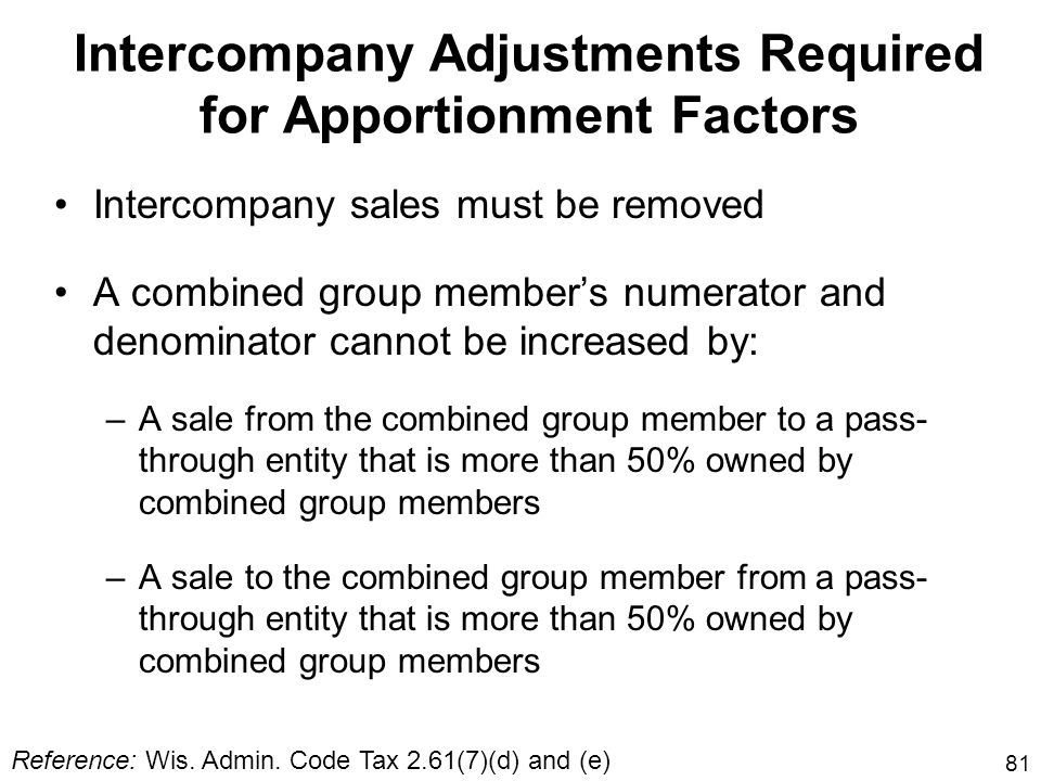 Intercompany Adjustments Required for Apportionment Factors