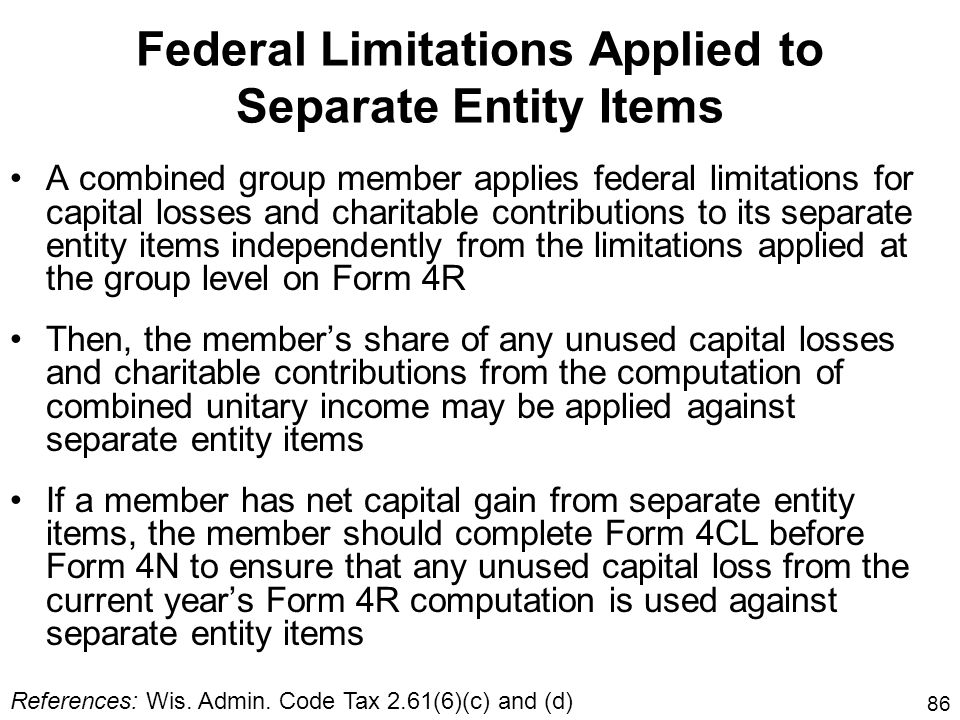 Federal Limitations Applied to Separate Entity Items