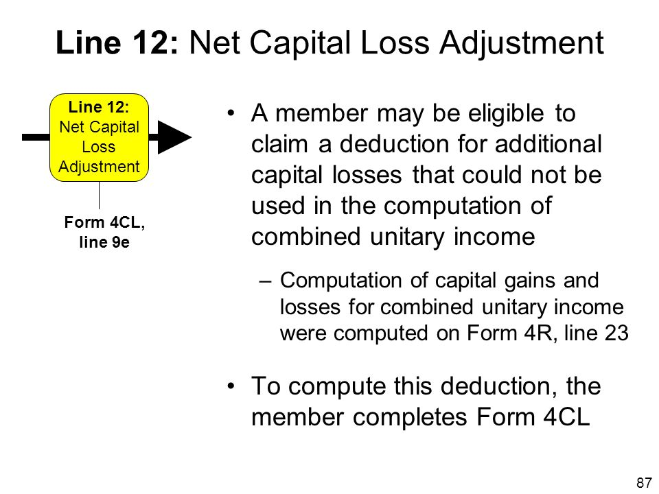 Line 12: Net Capital Loss Adjustment